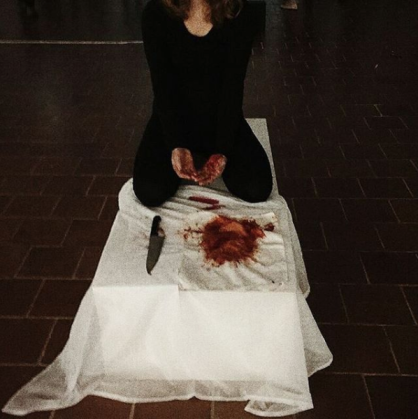 """Still from performance """"Blood on my hands"""" at the Happenings exhibition."""